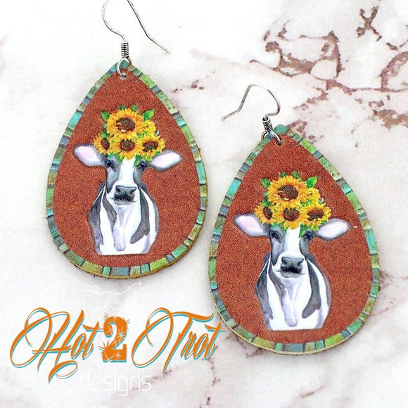 SUNFLOWER COWS LRG EARRINGS
