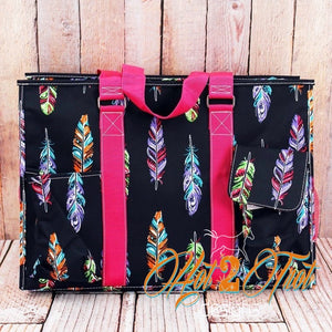 FANCY FEATHERS PINK LRG OVERNIGHT BAG