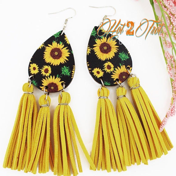 SUNFLOWER WOOD TASSEL LRG EARRINGS
