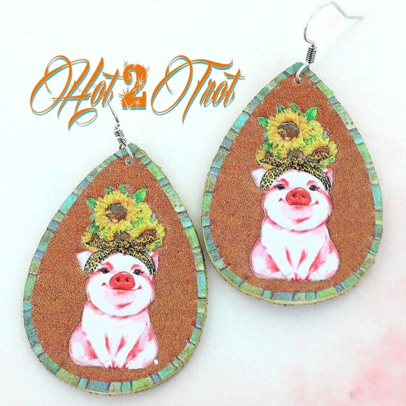SUNFLOWER PIGS LRG EARRINGS