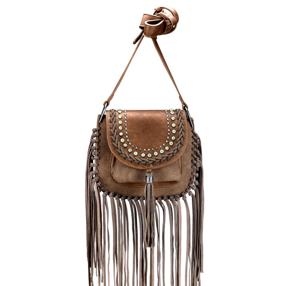 MONTANA WEST FRINGE CROSSBODY COFFEE