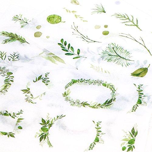 Green Leaves Foliage Planner Stickers - 24 Sheets