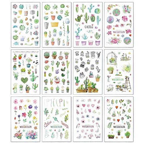 Green Cactus Plant Decorative Stickers - 12 Sheets