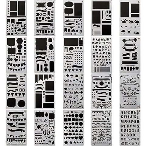 Journal Stencil Plastic Planner Set - 20 Piece