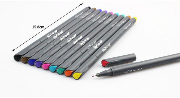 Fine Line Drawing Pens - 10 Piece Set