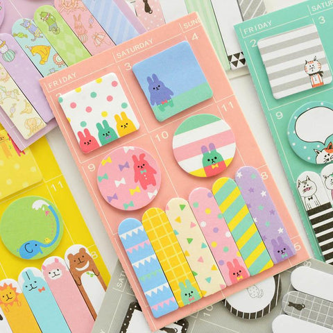 Kawaii animals sticky notes set