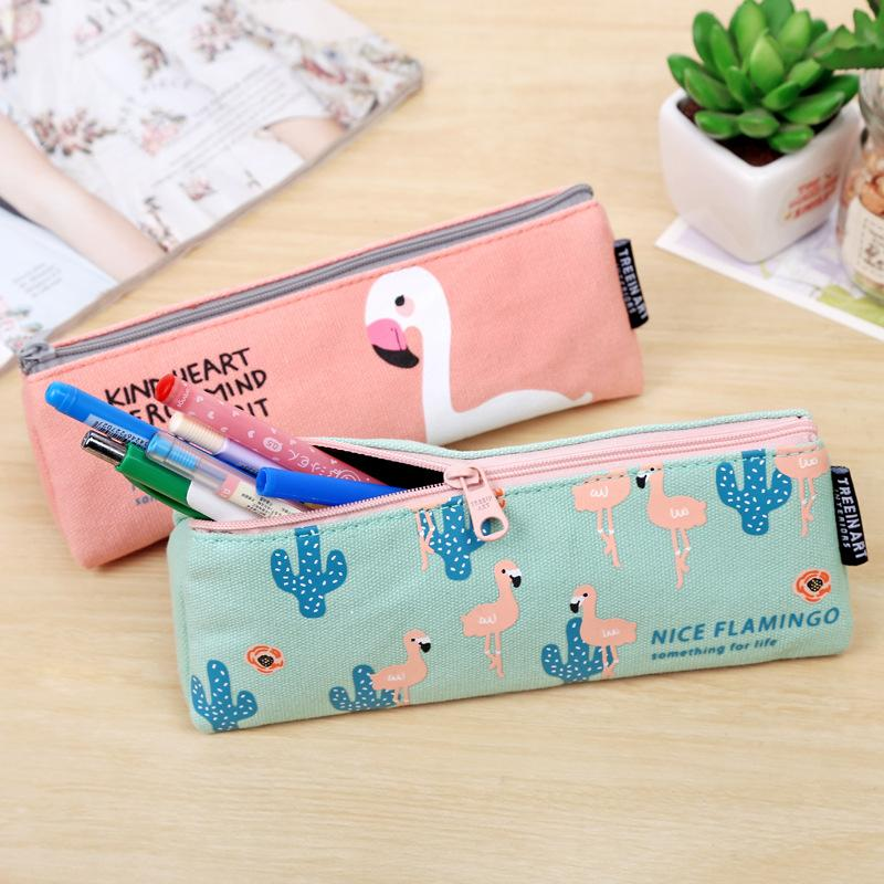 Flamingos Canvas Pencil Case