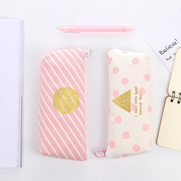 Pink beauty canvas pencil case