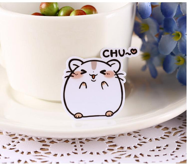 Kawaii Chubby Hamster Stickers - 40 Piece Set