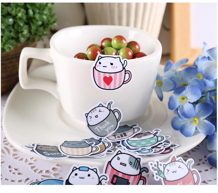 Cat in a Cup Stickers - 40 Piece Set