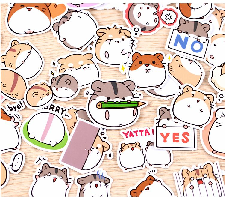 Cute Hamster Stickers - 40 Piece Set