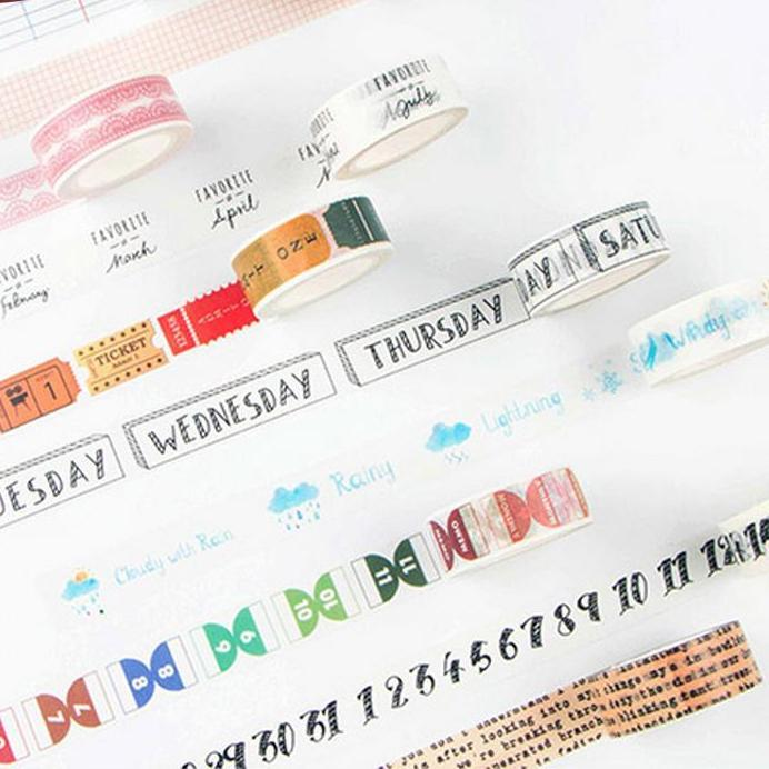 Bullet Journal Dates and Numbers Washi Tape
