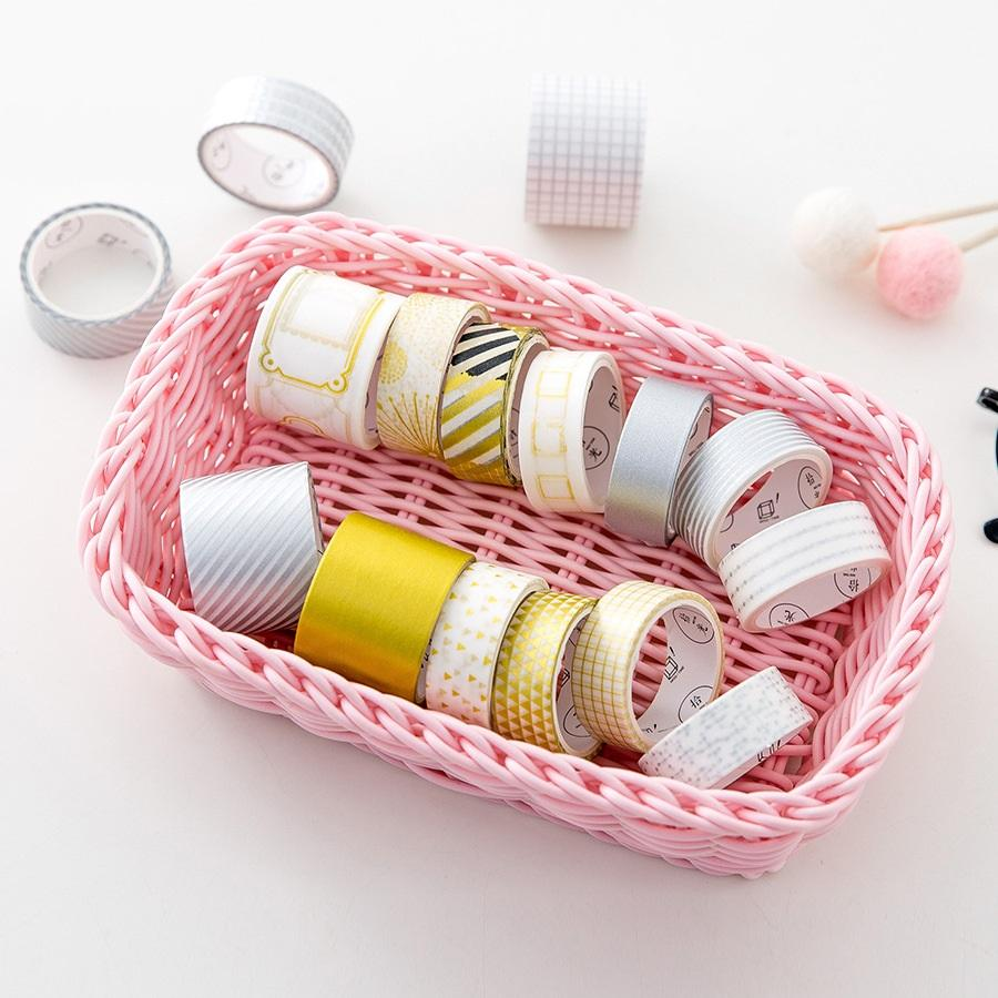 Gold and Silver Washi Tape - 8 Piece Set