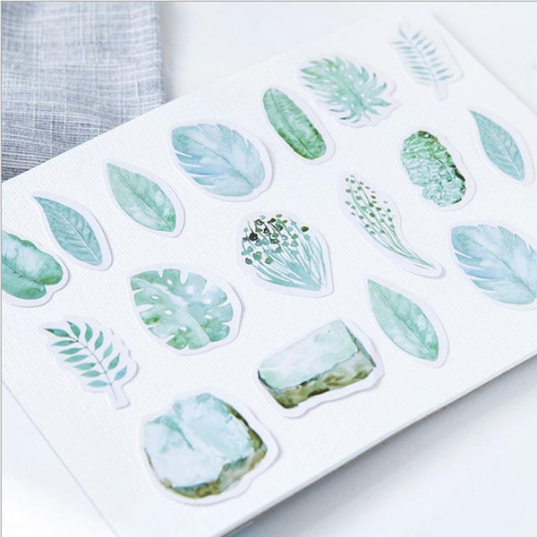 45 Pcs/box plant leaves stickers