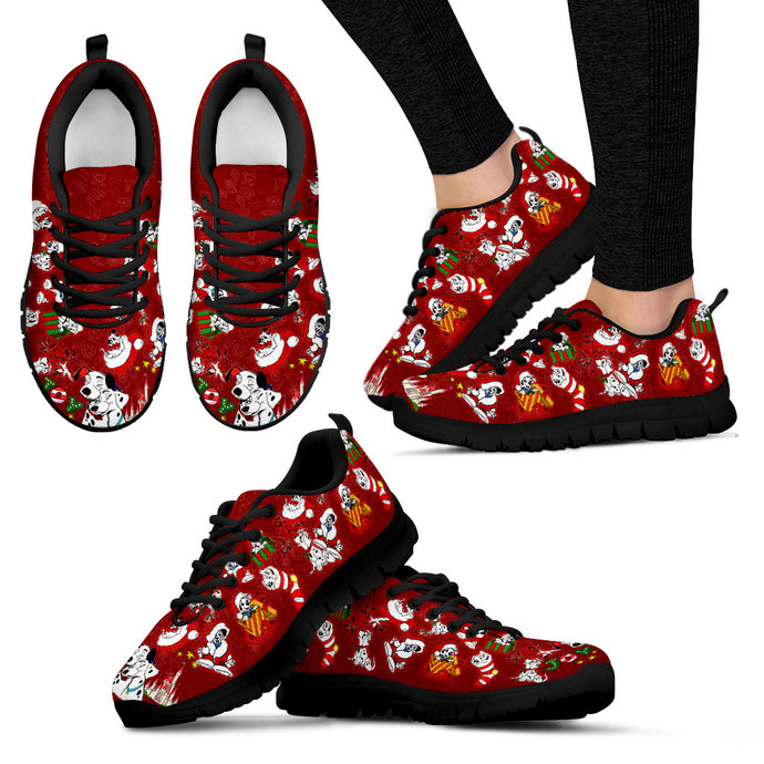 101 Dogs Red Women's Sneakers (Black)