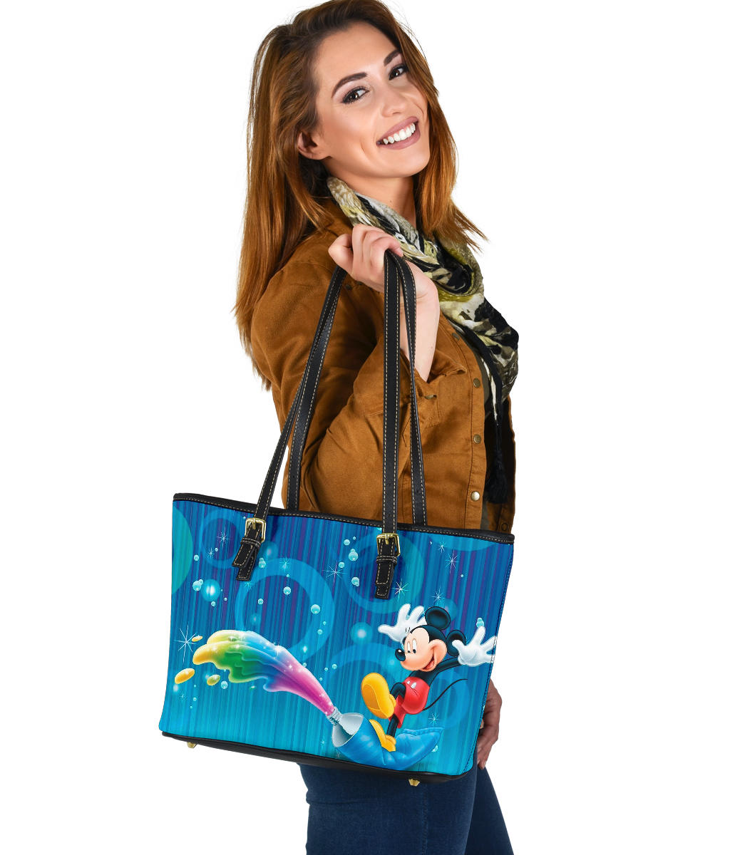Mickey Small Leather Tote  [Express Shipping Applied]