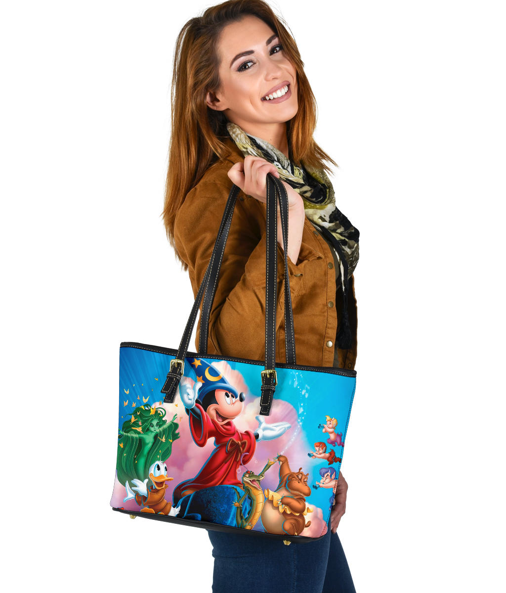 Mickey Fantasia Small Leather Tote  [Express Shipping Applied]