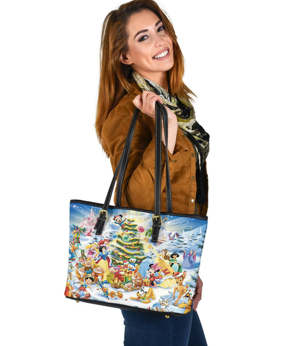 Disney characters Small Leather Tote Bag  [Express Shipping Applied]