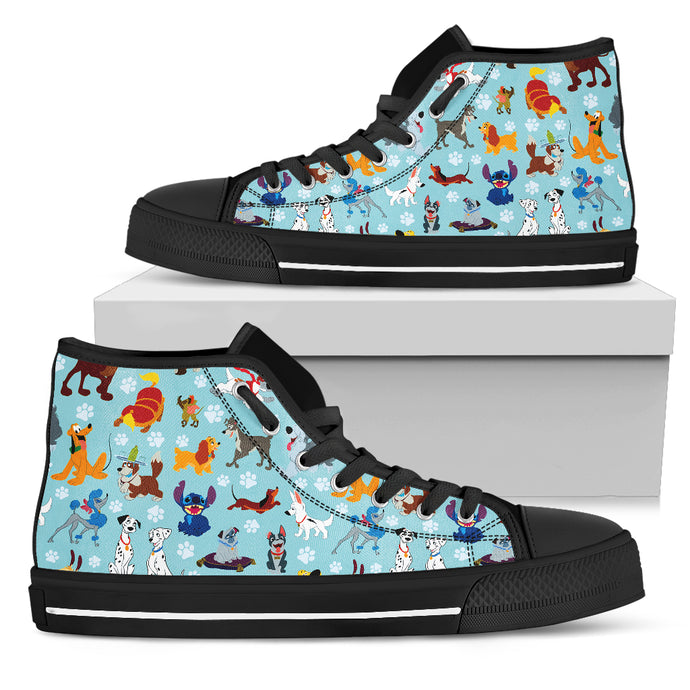 All Dogs Women's High Top Shoe in white