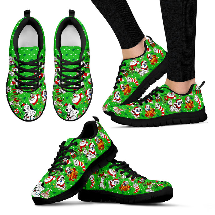 101 Dogs Green Women's Sneakers (Black)