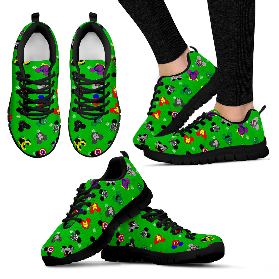Mickey Avengers Green Women's Sneakers (Black)