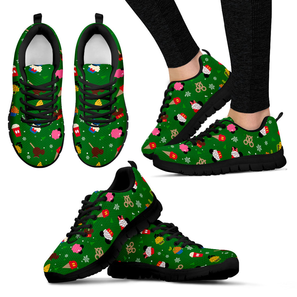 Women's  Green Sneakers Christmas ( white)