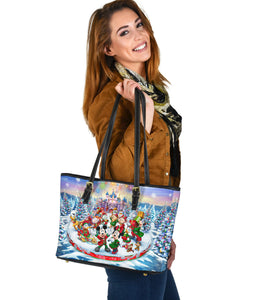 Disney Christmas Small Leather Tote Bag