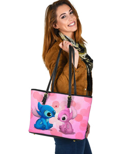 Stitch Blue Pink Small Leather Tote  [Express Shipping Applied]