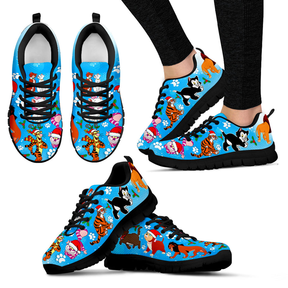 Cat Christmas Women's Sneakers (Black)