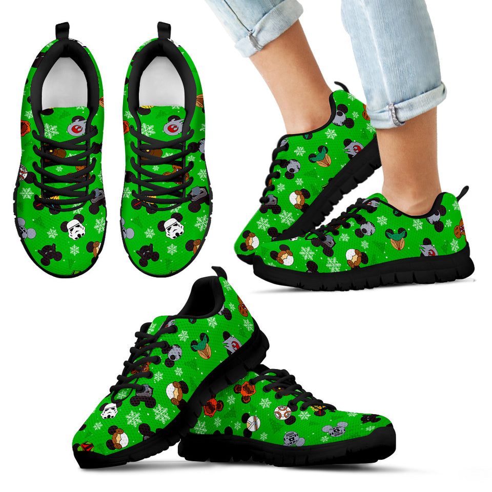 Mickey Star War Green Women's Sneakers (Black)