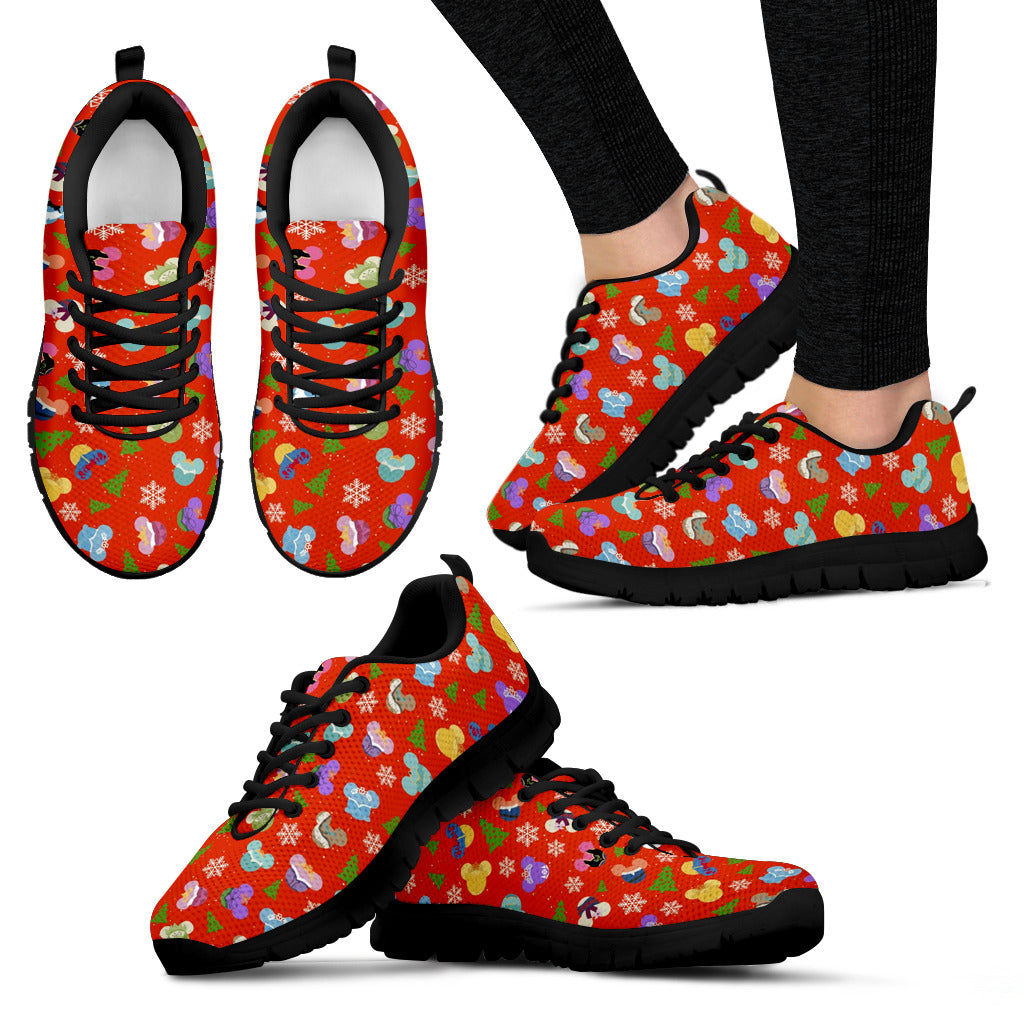 Red Mickey Women's Sneakers (Black)