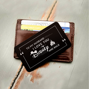 ENGRAVED BLACK WALLET INSERT CARD- TO MY HUSBAND, I LOVE YOU- V5412