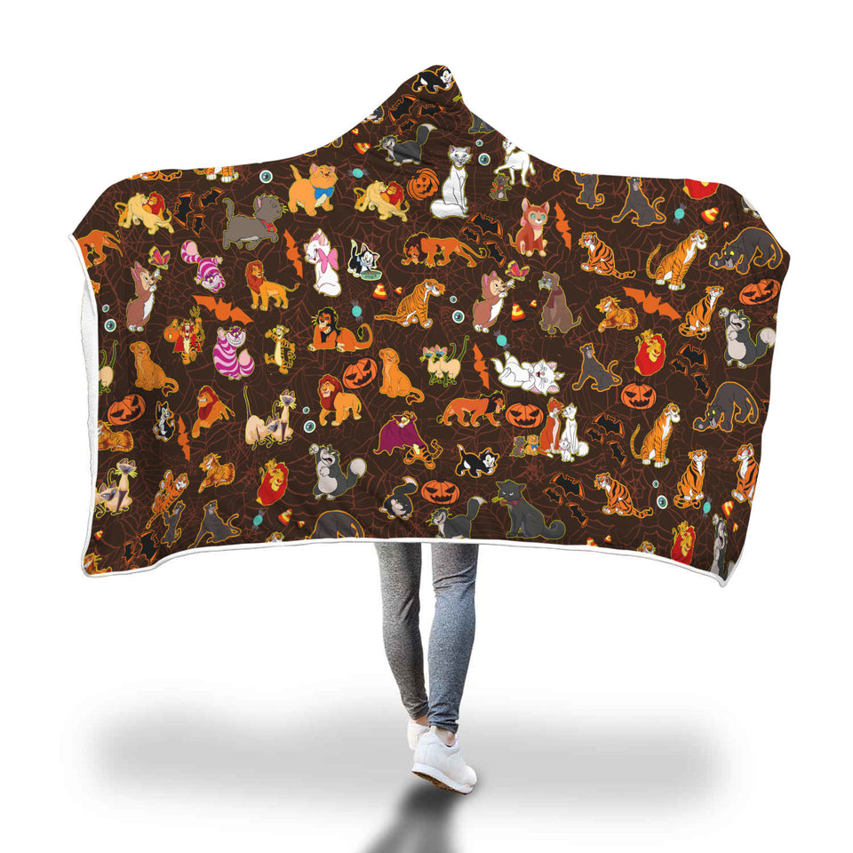 [Express Line Product+ 12$] Cats Disney Halloween Hooded Blanket