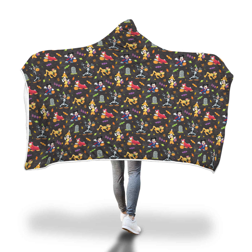 [Express Line Product+ 12$] Mickey Disney Halloween Hooded Blanket