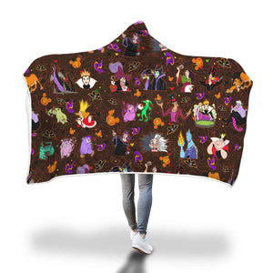 [Express Line Product+ 12$]Villain Disney Halloween Hooded Blanket