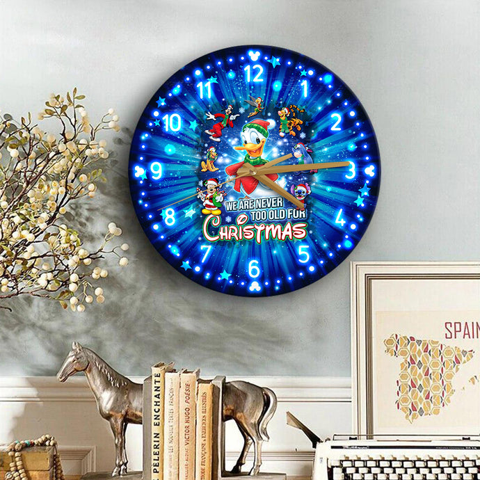 Dn Never Too Old For Christmas Wooden Clock