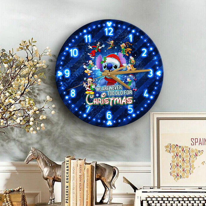 St Never Too Old For Christmas Wooden Clock
