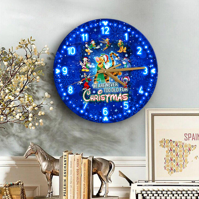 Tg Never Too Old For Christmas Wooden Clock