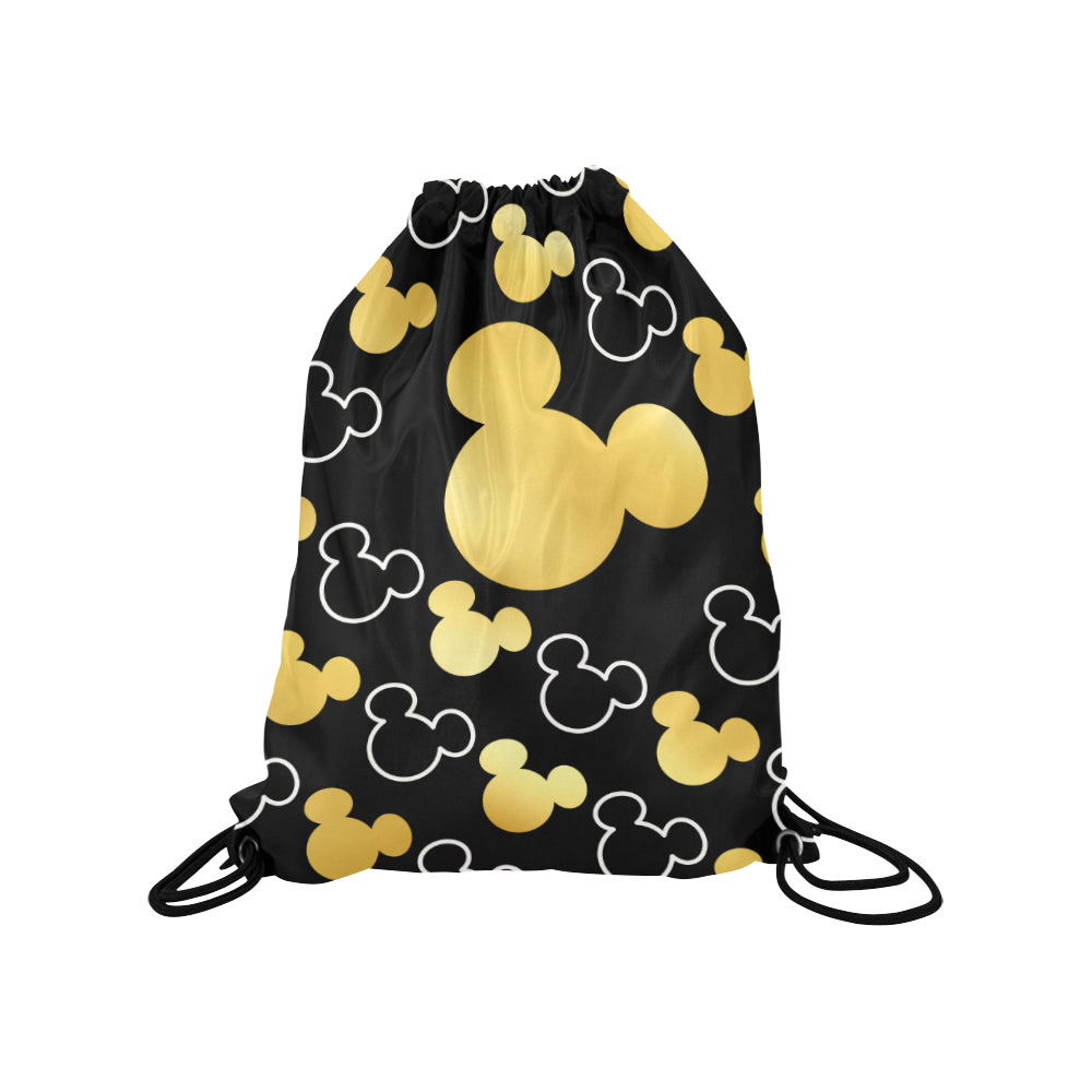 Mickey Gold Pattern Medium Drawstring Bag