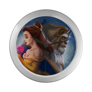 Beauty & The Beast Silver Color Wall Clock