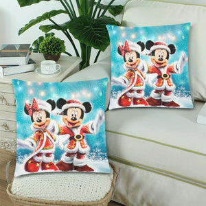"Minnie Mickey Custom Zippered Pillow Cases 18""x 18"" (Twin Sides) (Set of 2)"