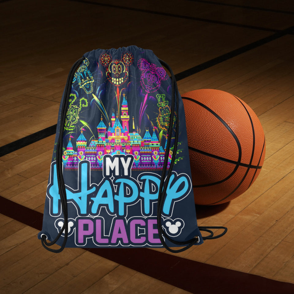 My Happy Place Medium Drawstring Bag