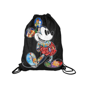 Mickey Flower Medium Drawstring Bag
