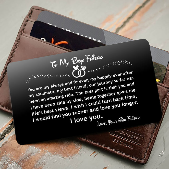 ENGRAVED BLACK WALLET INSERT CARD- TO MY BOYFRIEND, I LOVE YOU- V5408