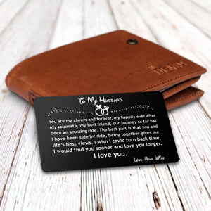 ENGRAVED BLACK WALLET INSERT CARD- TO MY HUSBAND, I LOVE YOU- V5410