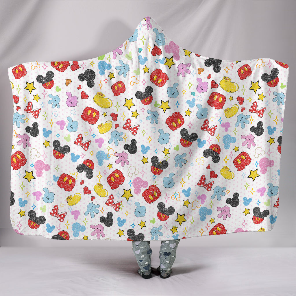 Mickey & Minnie Character Hooded Blanket