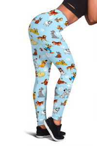 Dogs All Over Leggings Blue