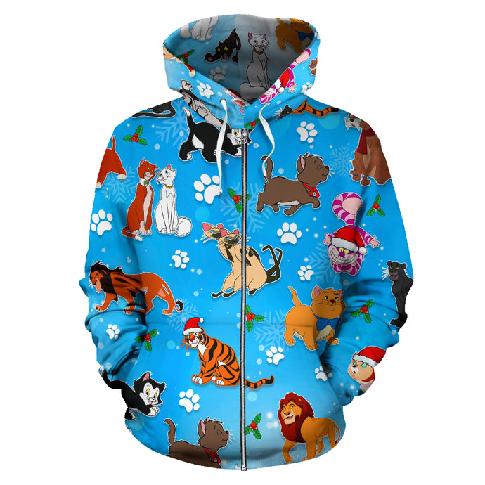 Cat Disney Christmas Zip - Up Hoodie
