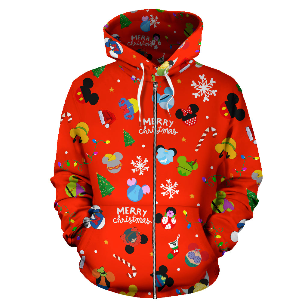 Disney Merry Christmas (Red) Zip - Up Hoodie