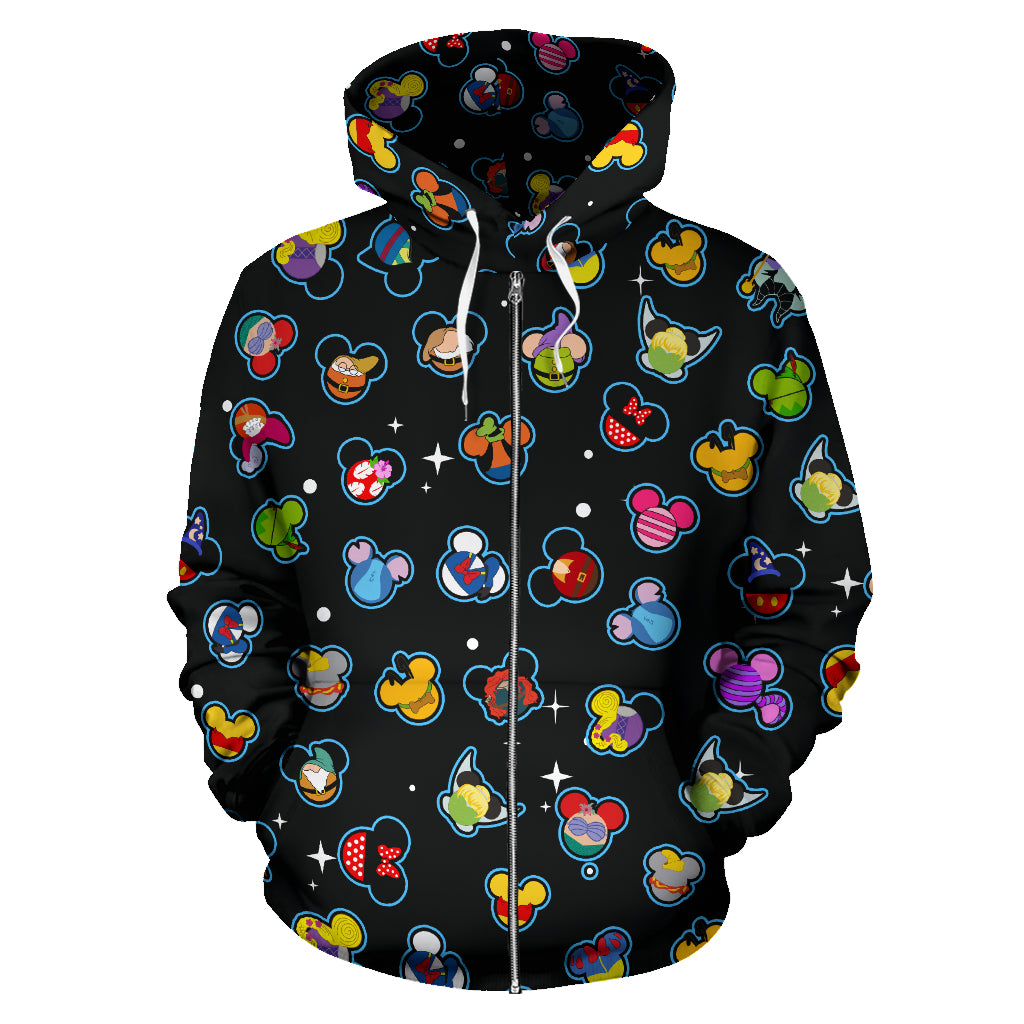 Disney Black All Over Zip Hoodie